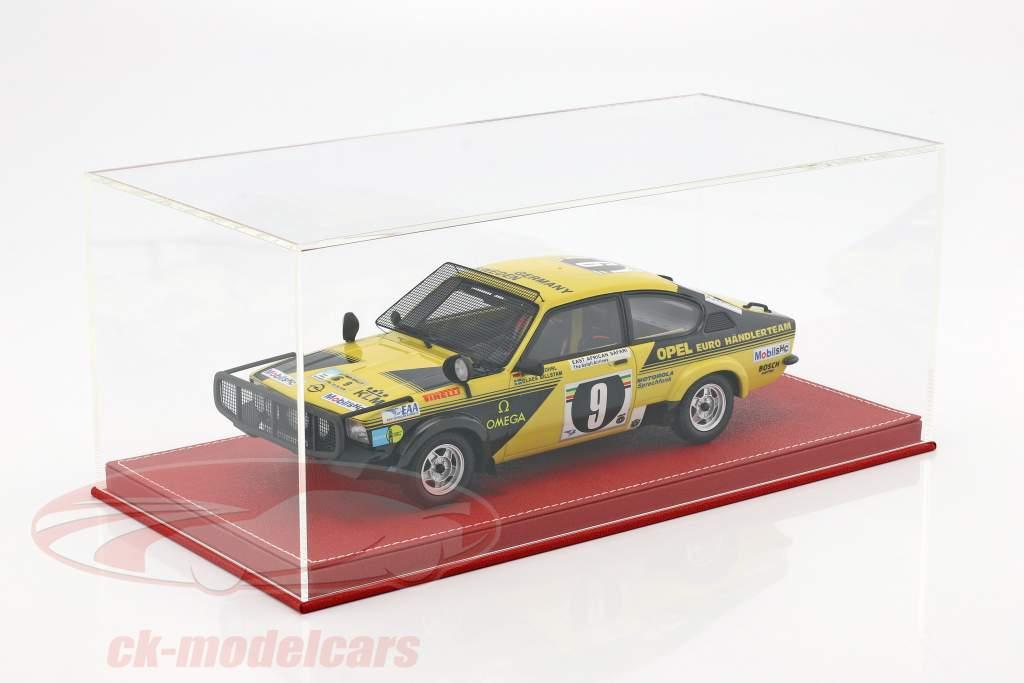 Haute qualité vitrine avec plaque de base en dehors de cuir pour maquette des voitures dans échelle 1:18 rouge SÛR