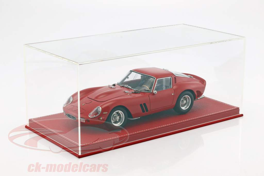 High-quality showcase with baseplate out of leather for model cars in scale 1:18 red SAFE