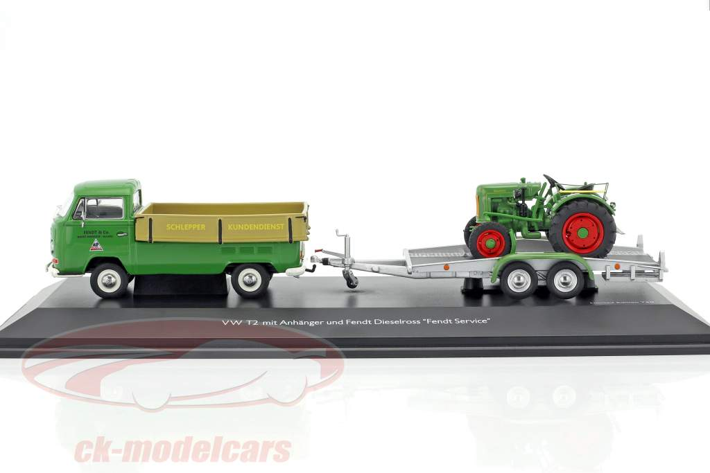 Volkswagen VW T2a Pick-up with trailer and Fendt Dieselross green / beige / silver 1:43 Schuco