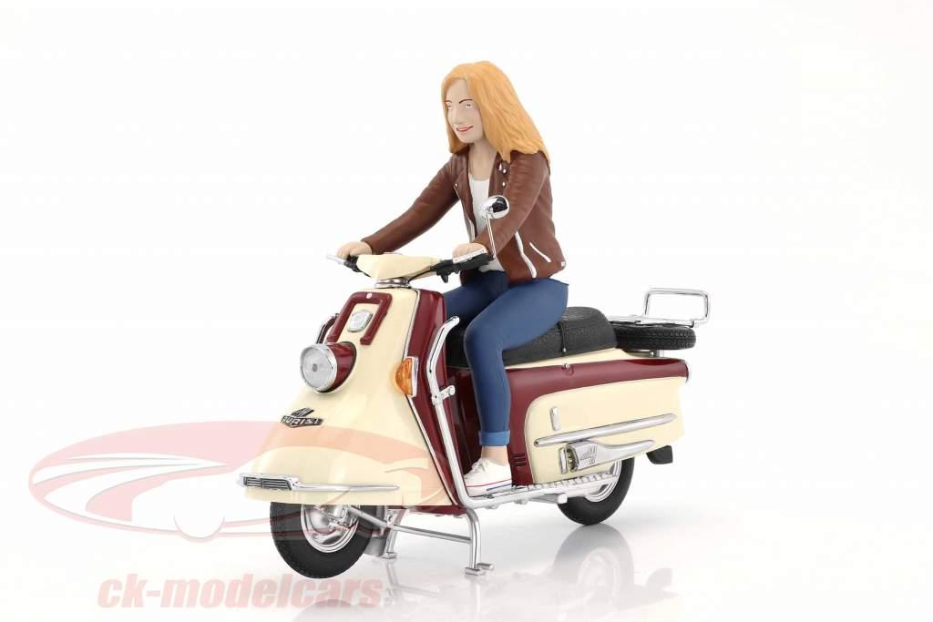 Heinkel scooter year 1960-1965 dark red / beige with driver figure 1:10 Schuco