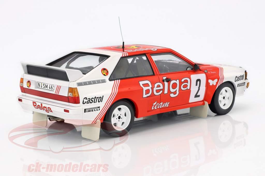 Audi Quattro A2 #2 vincitore Rallye Boucles de Spa 1985 Waldegaard, Thorszelius 1:18 Minichamps