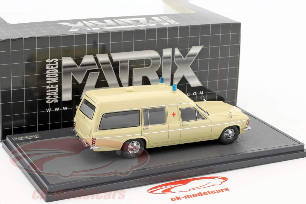 Opel Admiral B Miesen LWB Ambulance year 1970 beige 1:43 Matrix