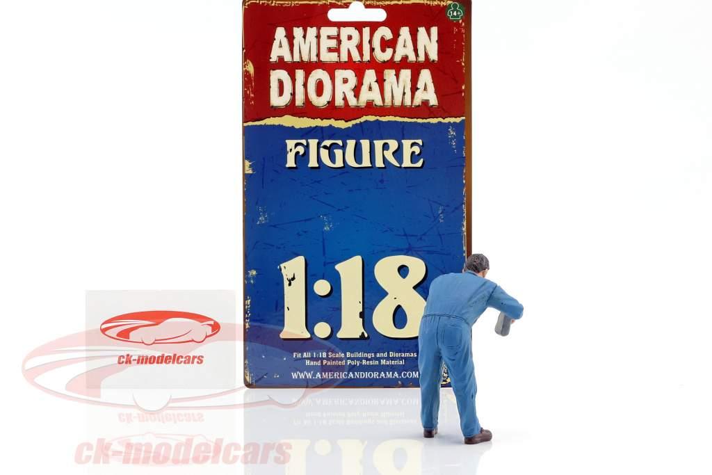 mekaniker Doug fyldning motor olie 1:18 amerikansk Diorama