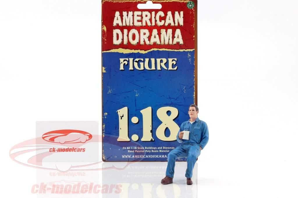 mechanic Johnny Drinking Coffee 1:18 American Diorama
