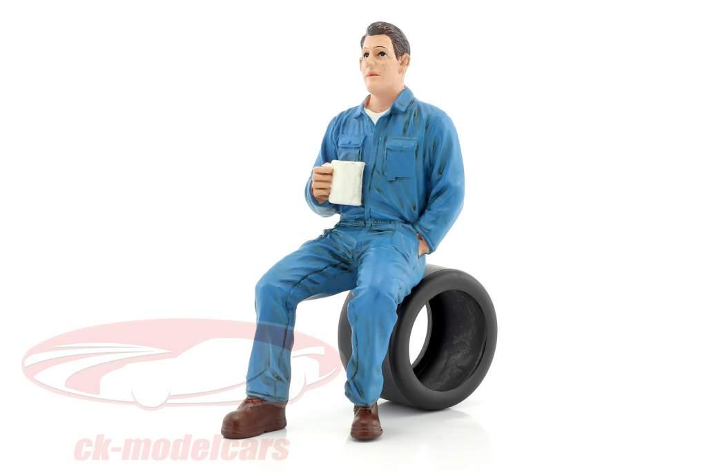 mécanicien Johnny Drinking Coffee 1:18 American Diorama