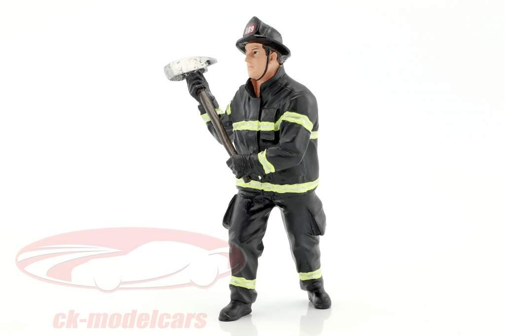 pompier figure III Holding Axe 1:18 américain Diorama