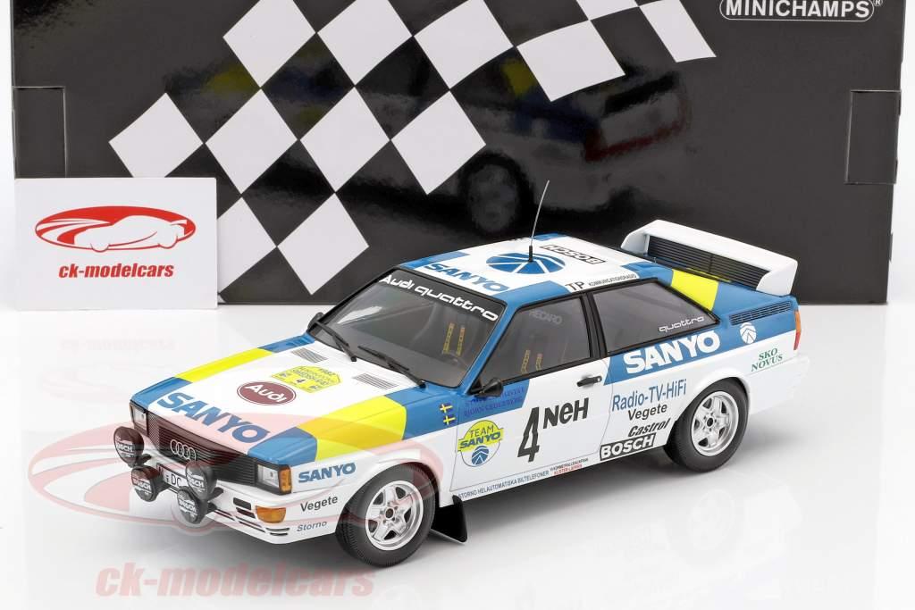 Audi Quattro #4 winnaar International Swedish Rallye 1982 Blomqvist, Cederberg 1:18 Minichamps
