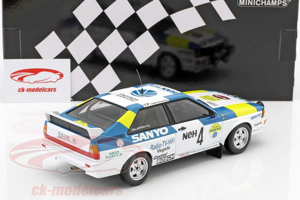 Audi Quattro #4 ganador International Swedish Rallye 1982 Blomqvist, Cederberg 1:18 Minichamps