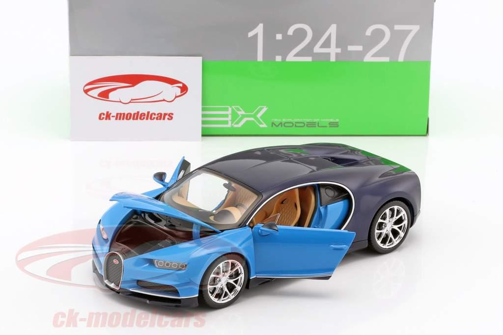 Bugatti Chiron année de construction 2017 bleu clair / bleu foncé 1:24 Welly