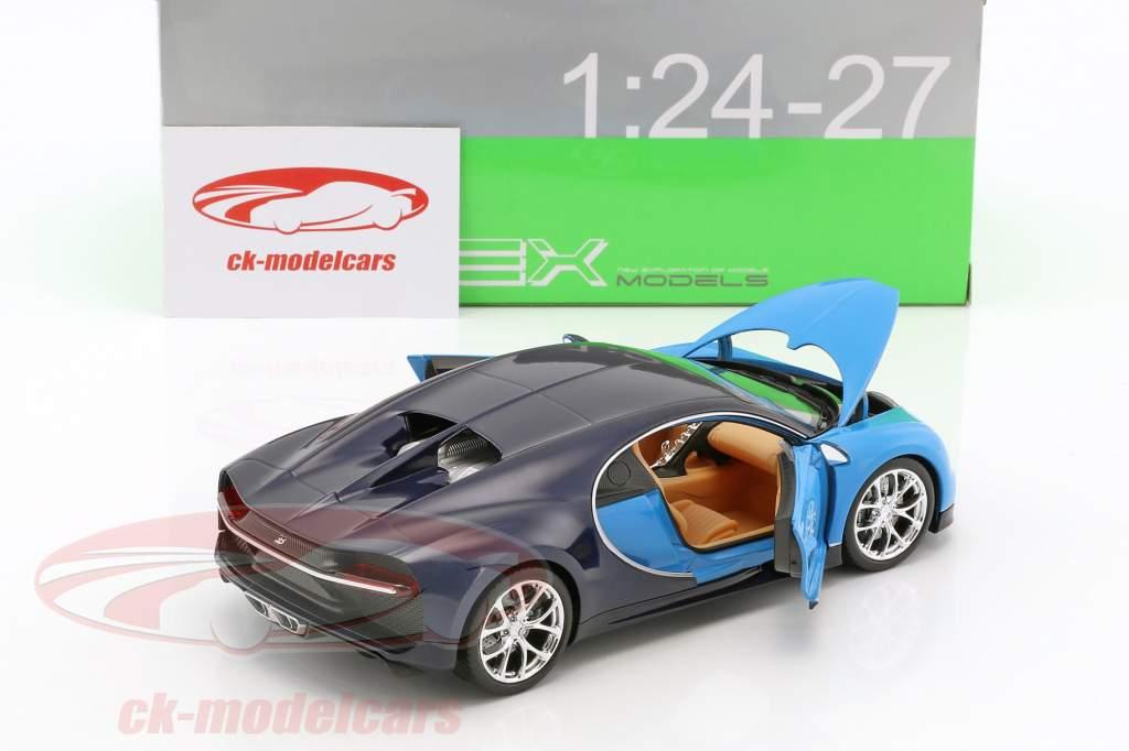 Bugatti Chiron ano de construção 2017 azul claro / azul escuro 1:24 Welly