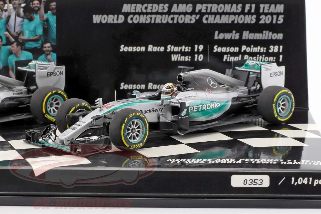 N. Rosberg #6 & L. Hamilton #44 Mercedes F1 W06 Hybrid 2-Car Set fórmula 1 2015 1:43 Minichamps