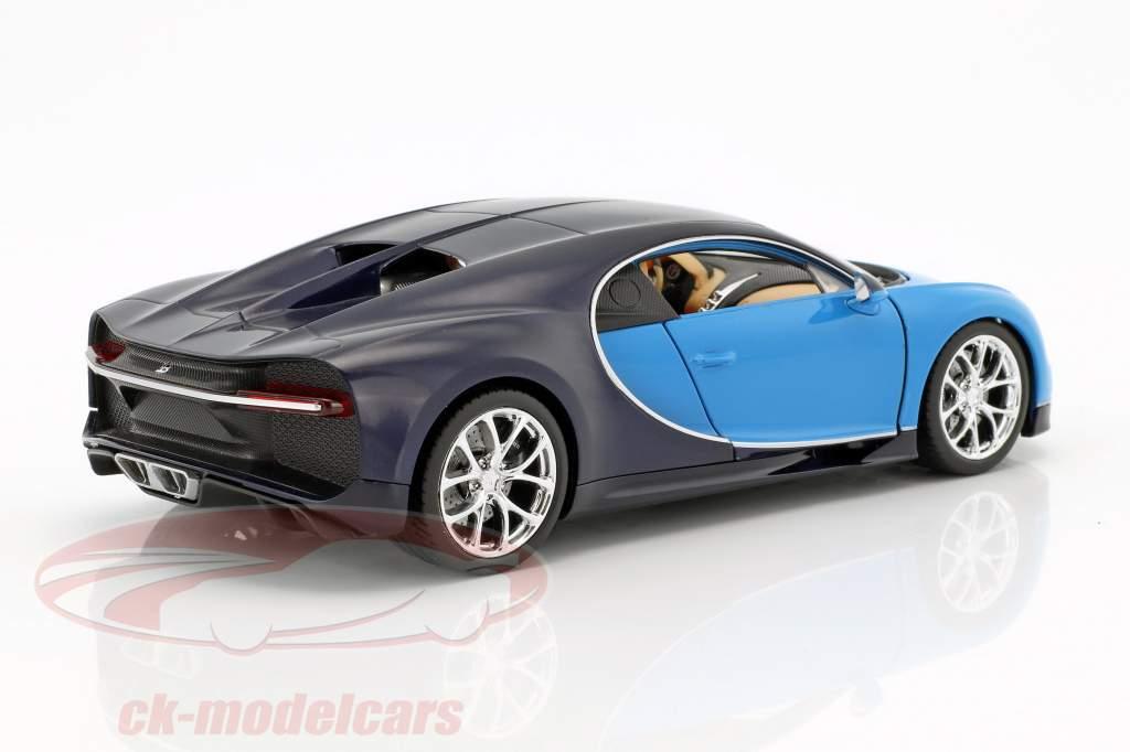 Bugatti Chiron año de construcción 2017 azul claro / azul oscuro 1:24 Welly