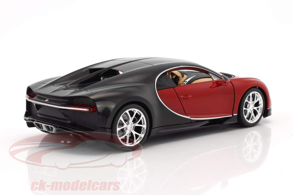 Bugatti Chiron année de construction 2017 rouge / noir 1:24 Welly
