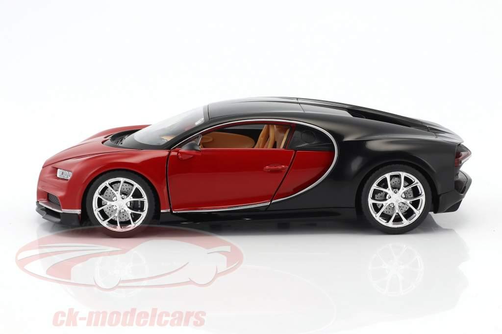 Bugatti Chiron año de construcción 2017 rojo / negro 1:24 Welly