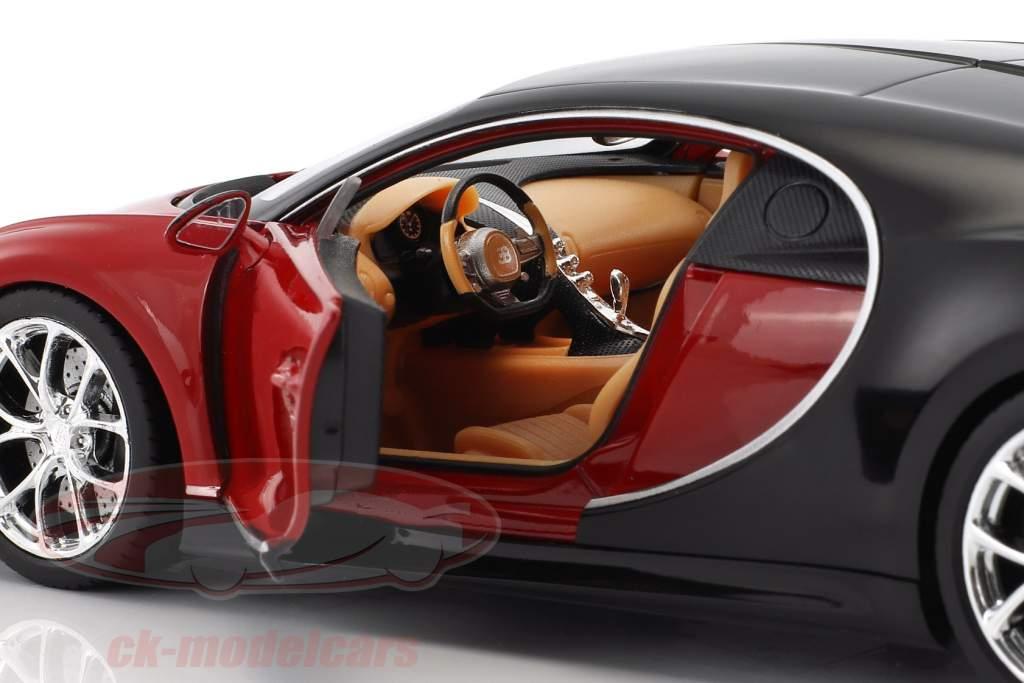 Bugatti Chiron Bouwjaar 2017 rood / zwart 1:24 Welly