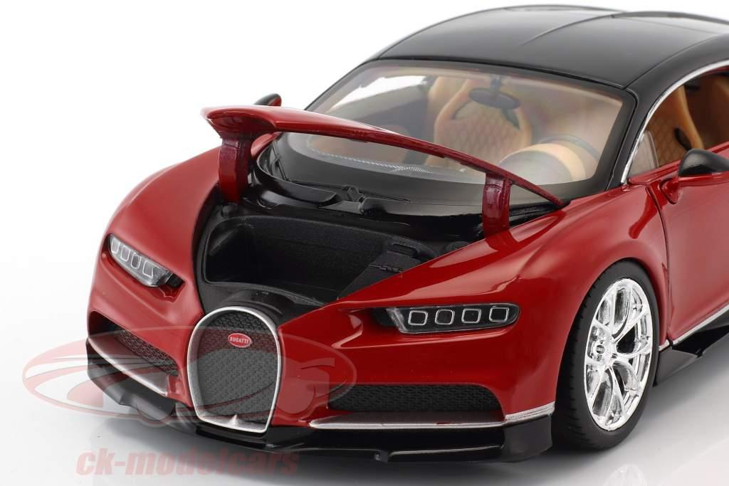 Bugatti Chiron ano de construção 2017 vermelho / preto 1:24 Welly