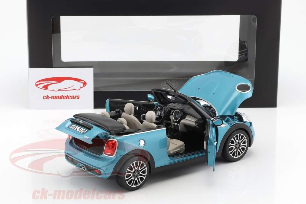 Mini Cooper S cabriolet (F57) année de construction 2016 bleu métallique 1:18 Norev