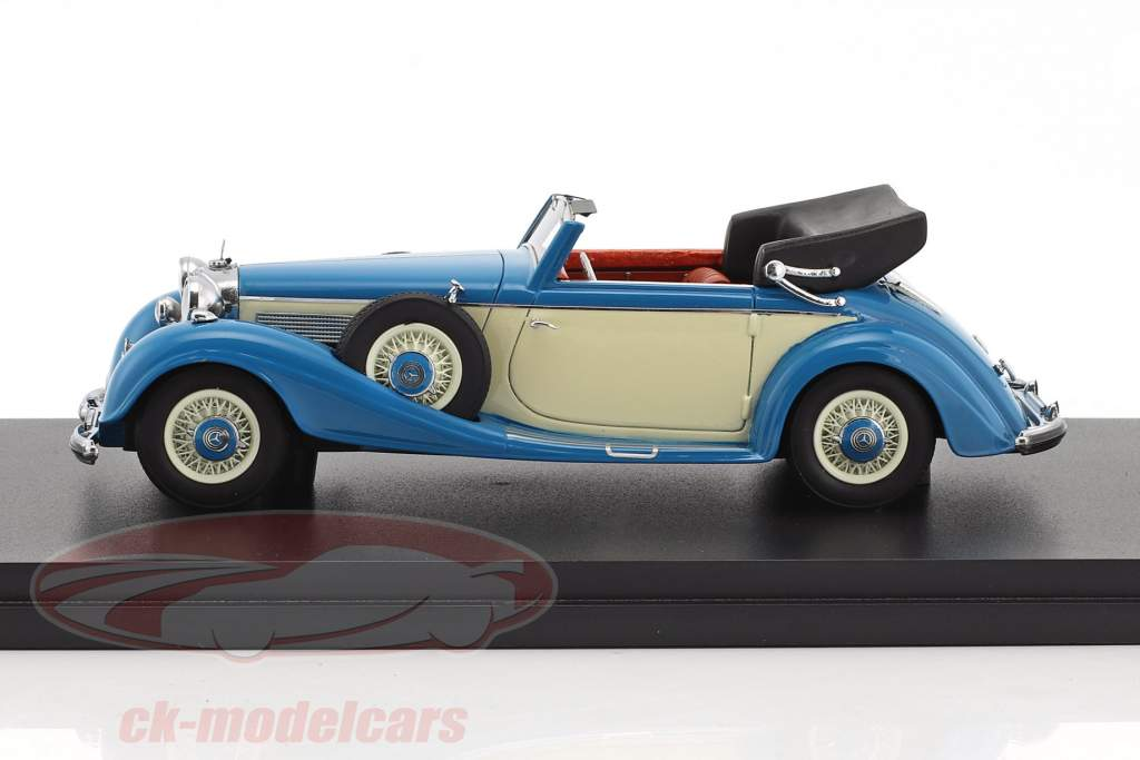 Mercedes-Benz 540K Typ A cabriolet année de construction 1936 bleu / beige 1:43 Neo
