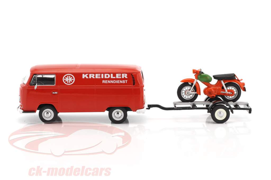 Volkswagen VWT2a Bus Kreidler Service with trailer and Kreidler Florett red 1:43 Schuco