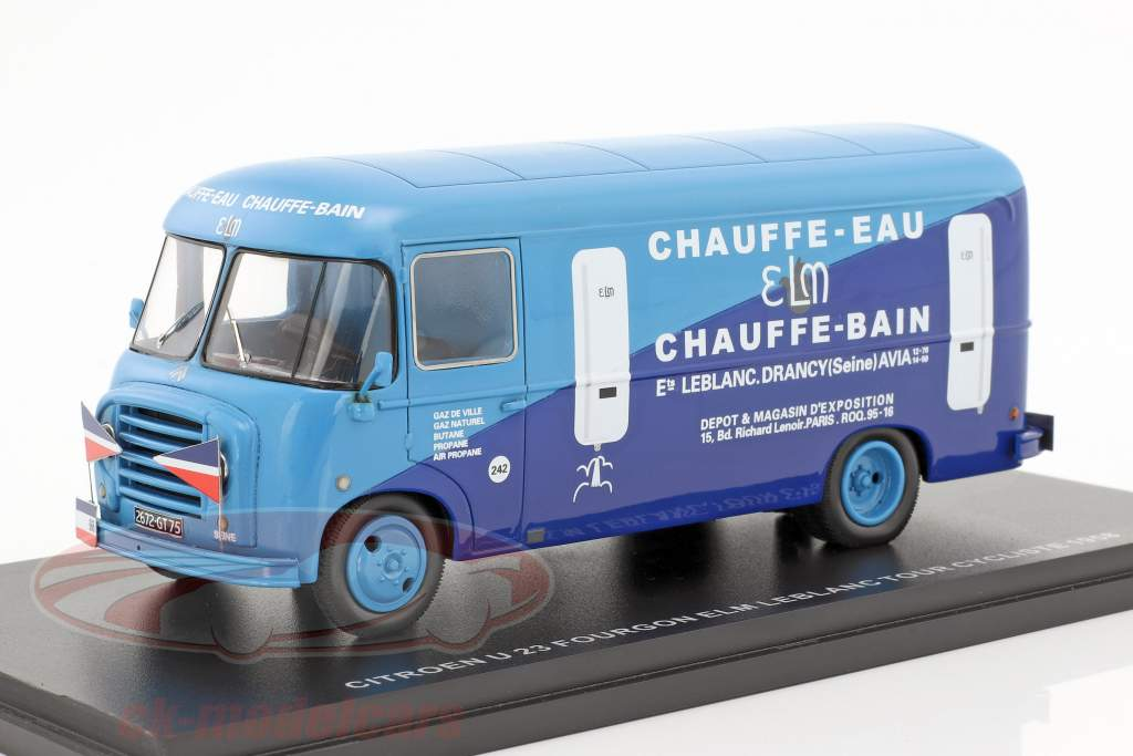 Citroen U23 Heuliez Fourgon Bus ELM Leblanc Baujahr 1958 hellblau / dunkelblau 1:43 Momaco