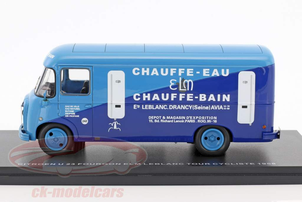 Citroen U23 Heuliez Fourgon autobus ELM Leblanc anno di costruzione 1958 azzurro / blu scuro 1:43 Momaco