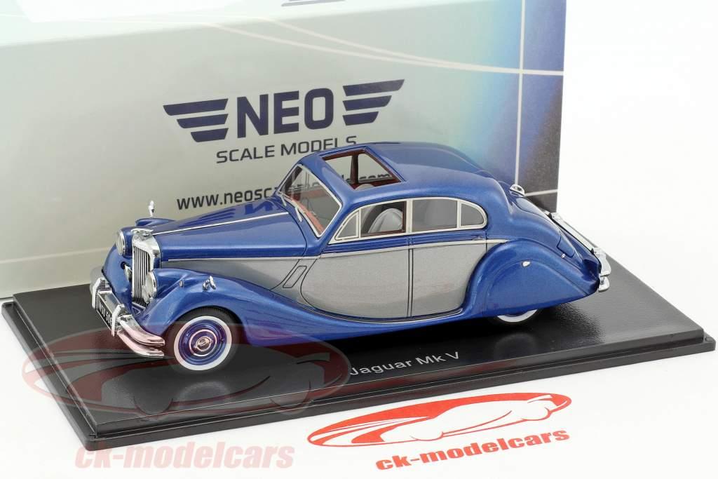 Jaguar MK V année de construction 1950 bleu métallique / argent 1:43 Neo