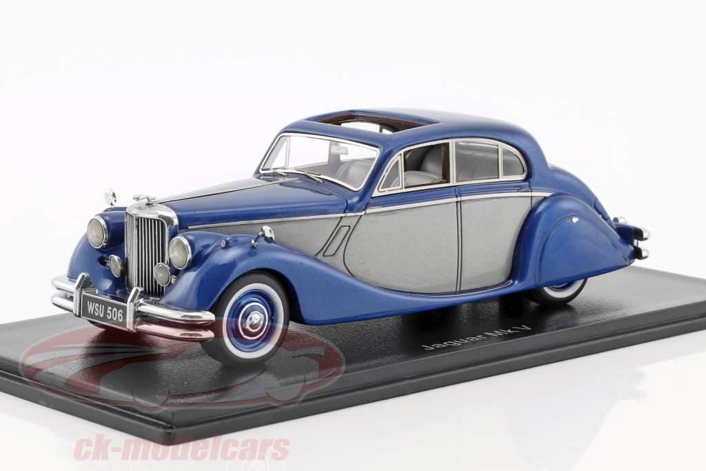 Jaguar MK V year 1950 blue metallic / silver 1:43 Neo