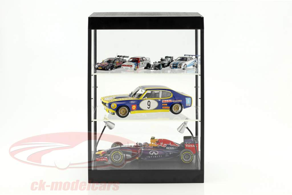 Single cabinet with 2 mobile Led lamps for model cars in the scale 1:18,1:24,1:43 Triple9