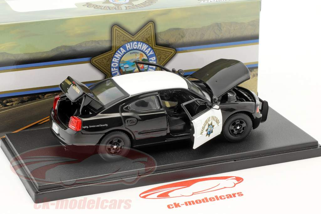 Dodge Charger Pursuit California Highway Patrol année de construction 2008 noir / blanc 1:43 Greenlight