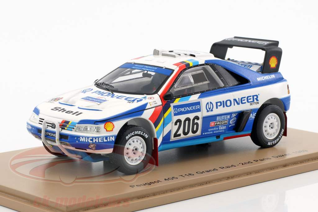 Peugeot 405 T16 Grand Raid #206 2º Rallye Dakar 1989 Ickx, Tarin 1:43 Spark
