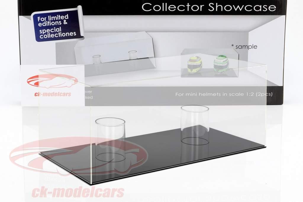 alto qualità vetrina per 2 caschi in scala 1:2 nero SAFE