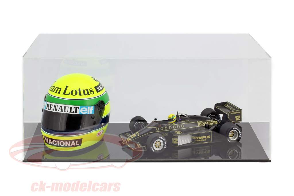 High quality showcase for 1 helmet in scale 1:2 and 1 Modelcar in scale 1:18 black SAFE
