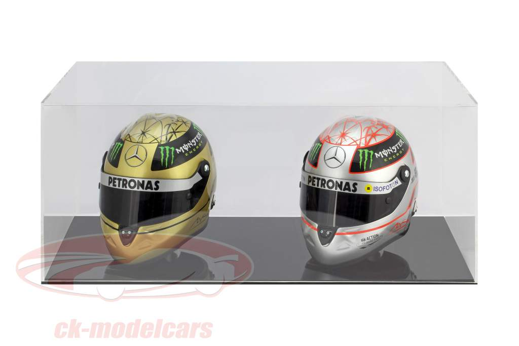 High quality showcase for 2 helmets in scale 1:2 black SAFE