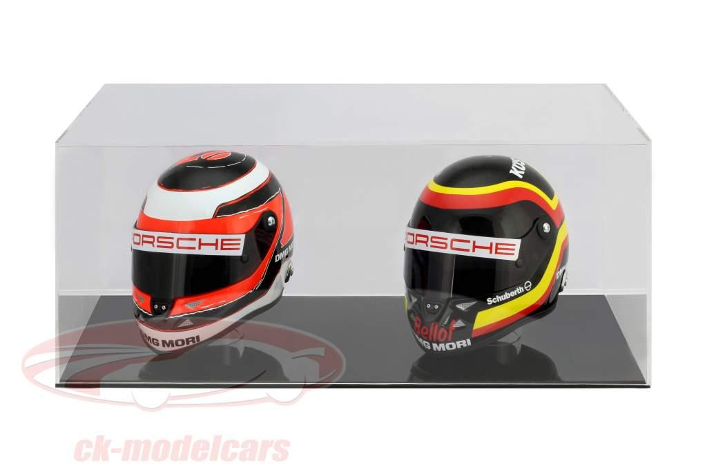 hoog kwaliteit vitrine voor 2 helmen in schaal 1:2 zwart SAFE