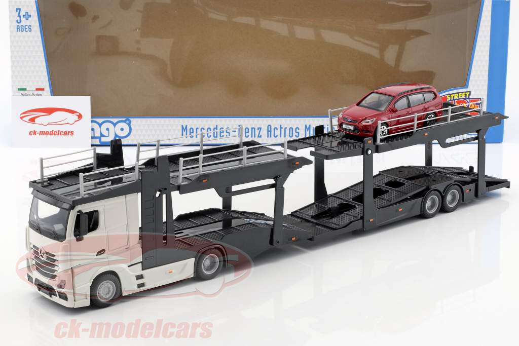 Mercedes-Benz Actros Autotransporter mit Ford Focus weiß / rot 1:43 Bburago