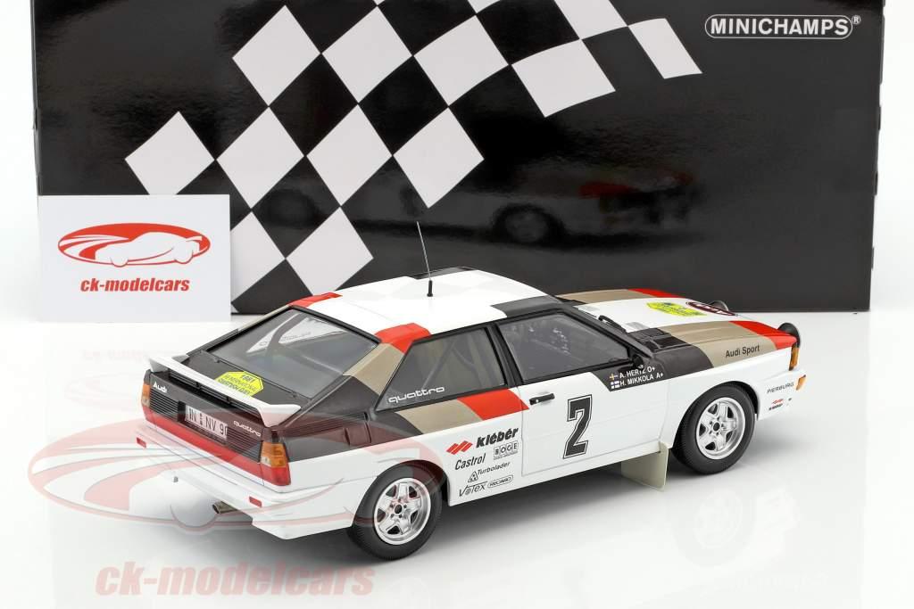 Audi Quattro #2 ganador internacionalmente Rallye Suecia 1981 Mikkola, Hertz 1:18 Minichamps