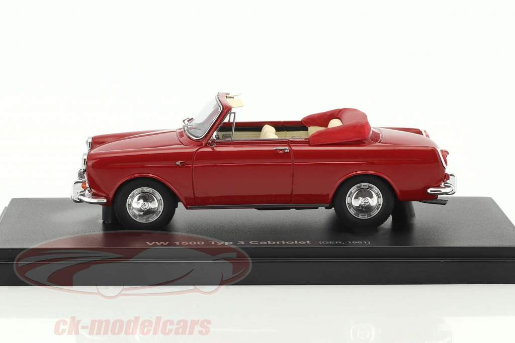 Volkswagen VW 1500 Typ 3 cabriolet anno di costruzione 1961 rosso 1:43 AutoCult