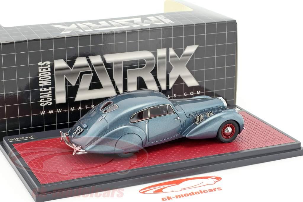 Delage D8-120 S Pourtout coupe anno di costruzione 1938 blu metallico 1:43 Matrix