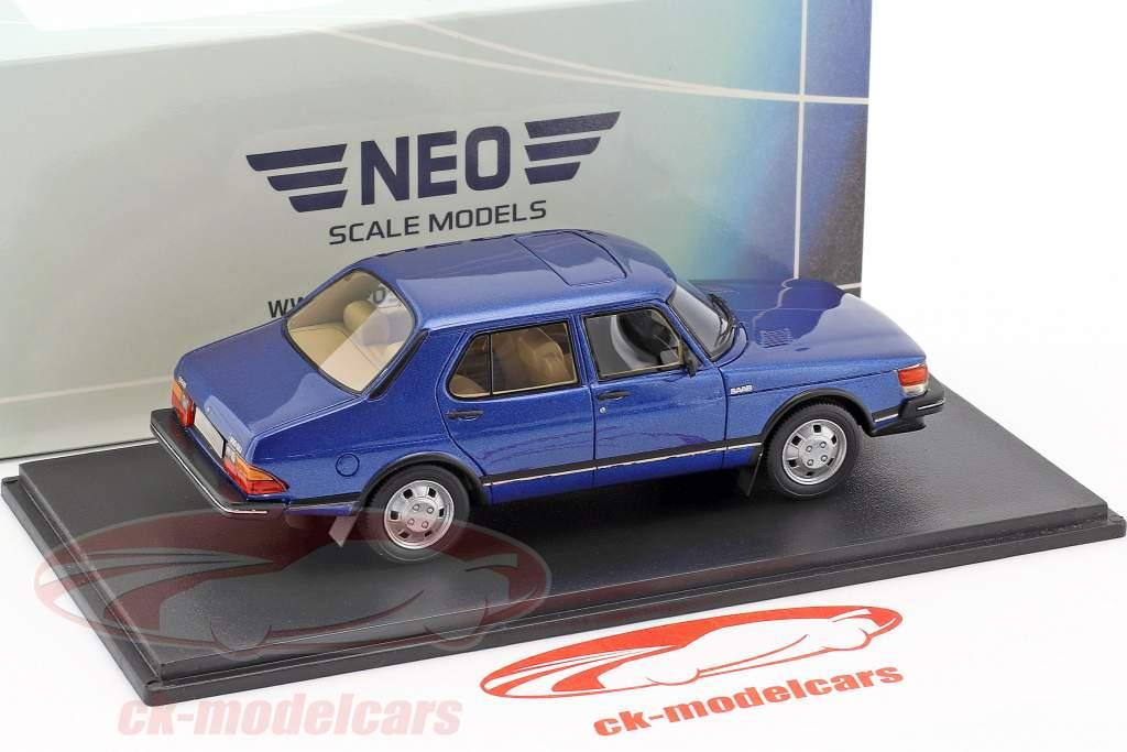 Saab 900 GLi Baujahr 1981 blau metallic 1:43 Neo