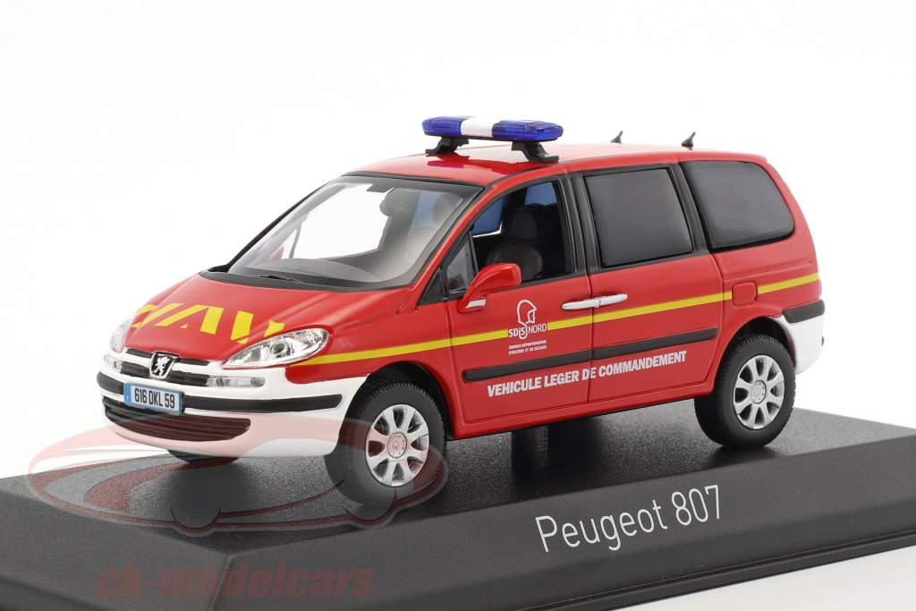 Peugeot 807 Pompiers Baujahr 2013 rot / weiß 1:43 Norev