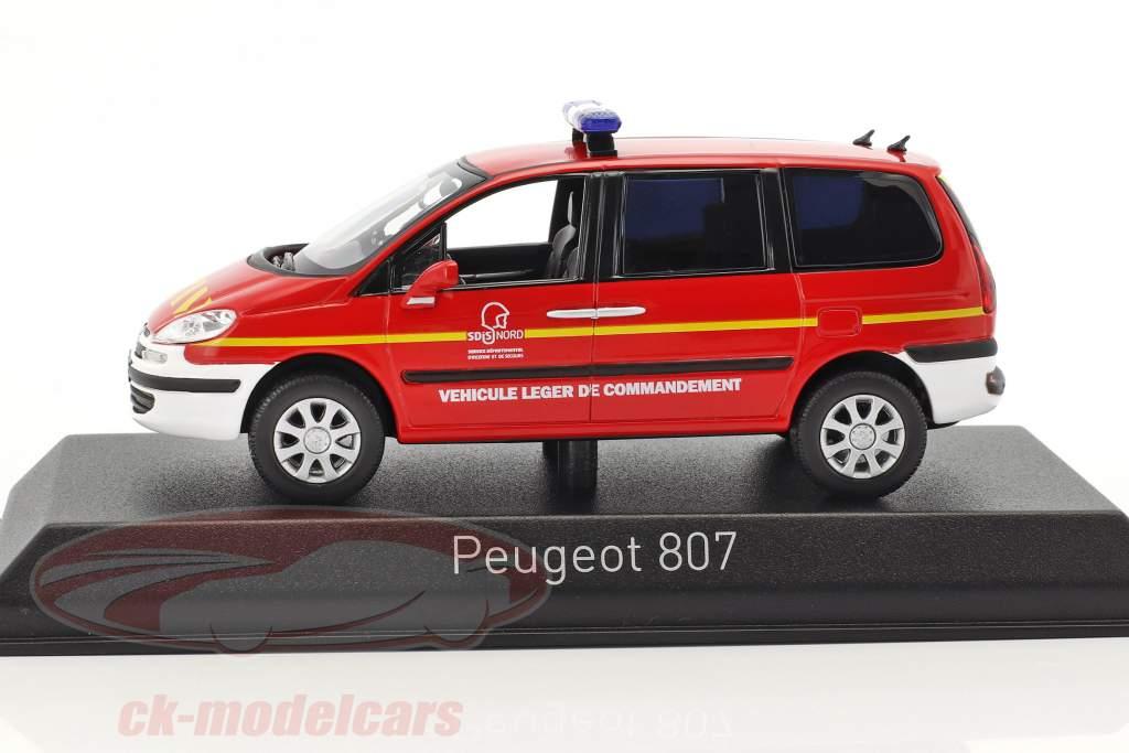 Peugeot 807 Pompiers année de construction 2013 rouge / blanc 1:43 Norev
