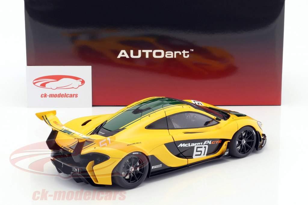 McLaren P1 GTR #51 Motor Show Genebra 2015 amarelo / verde / preto 1:18 AUTOart