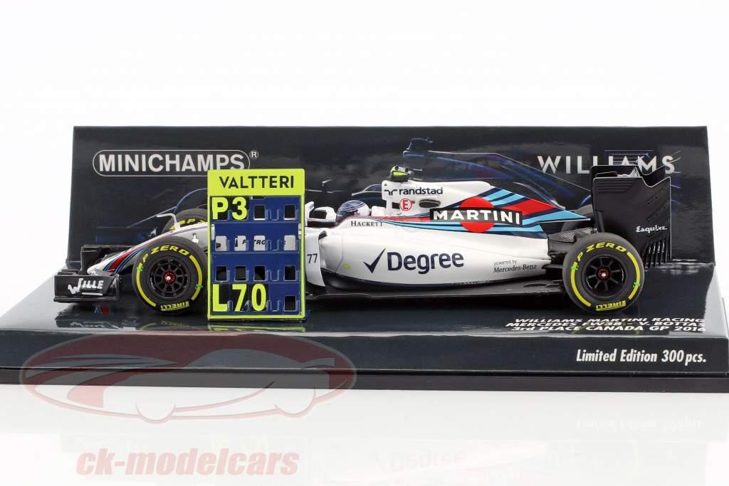 Valtteri Bottas Williams FW38 #77 3 ° Canada GP formula 1 2016 1:43 Minichamps