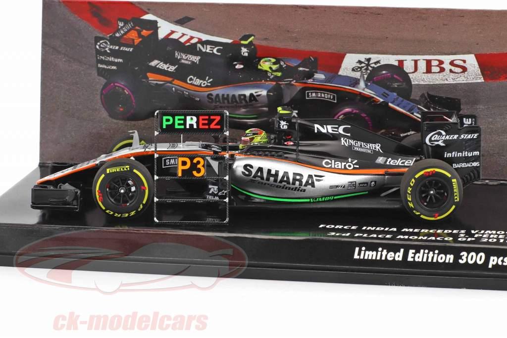 Sergio Perez Force India VJM09 #11 3rd Monaco GP formula 1 2016 1:43 Minichamps