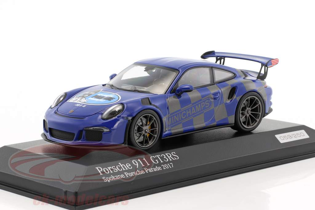 Porsche 911 (991) GT3 RS Spokane Porsche Parade 2017 blau 1:43 Minichamps