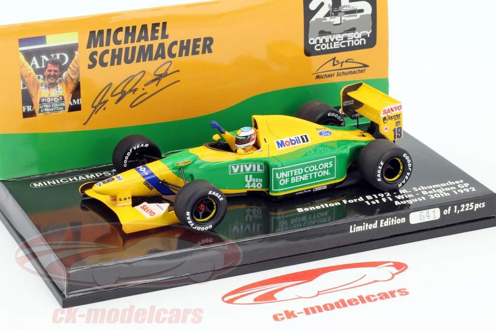 Michael Schumacher Benetton B192 #19 prima F1 vittoria Belgio GP formula 1 1992 1:43 Minichamps