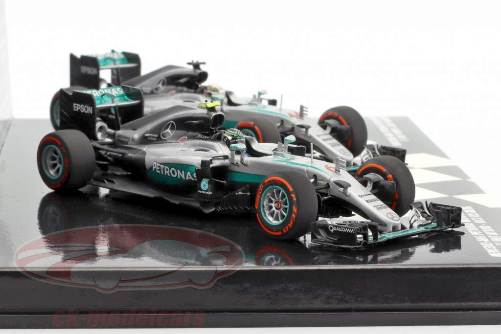 2-Car Set Mercedes AMG Petronas F1 Team Constructors World Champion F1 2016 1:43 Minichamps
