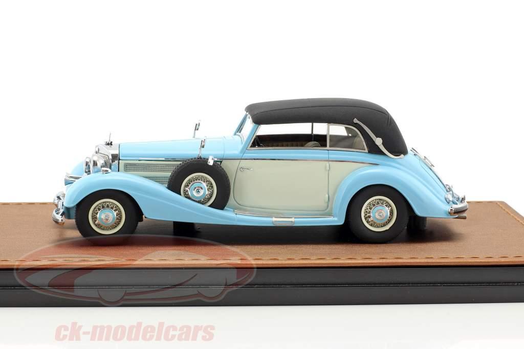 Mercedes-Benz 540K Cabriolet B Closed version year 1937 light blue / white 1:43 GLM