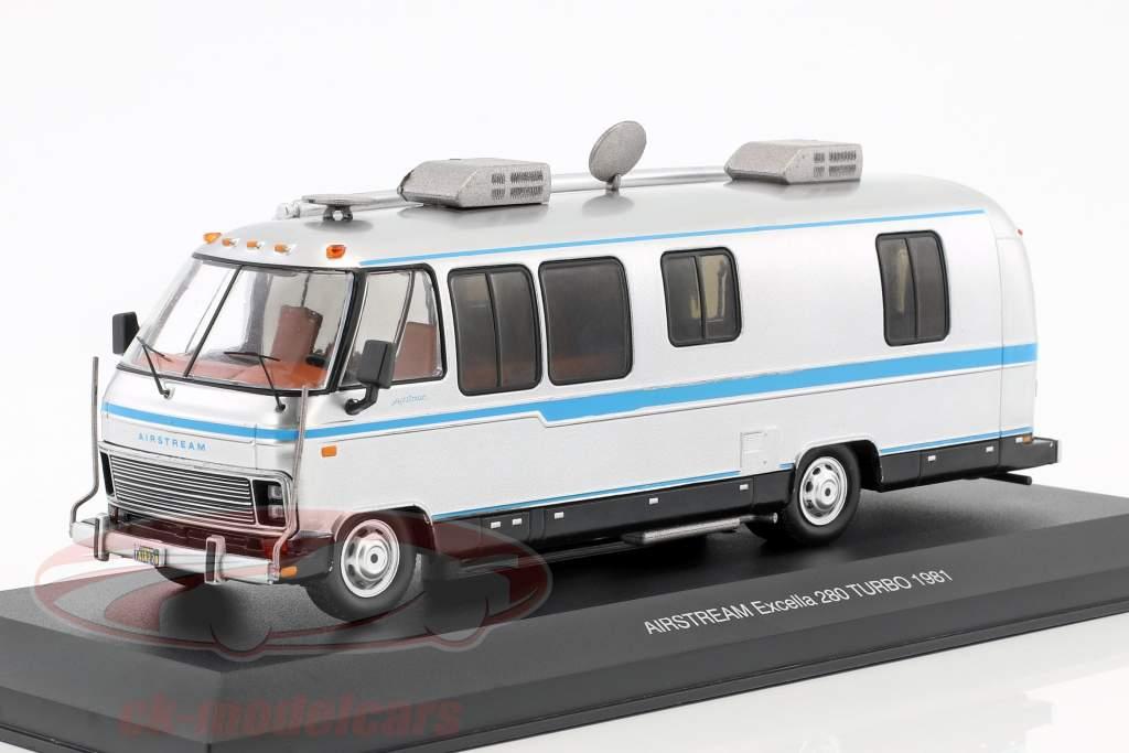 Airstream Excella 280 turbo year 1981 silver / light Blue 1:43 Ixo