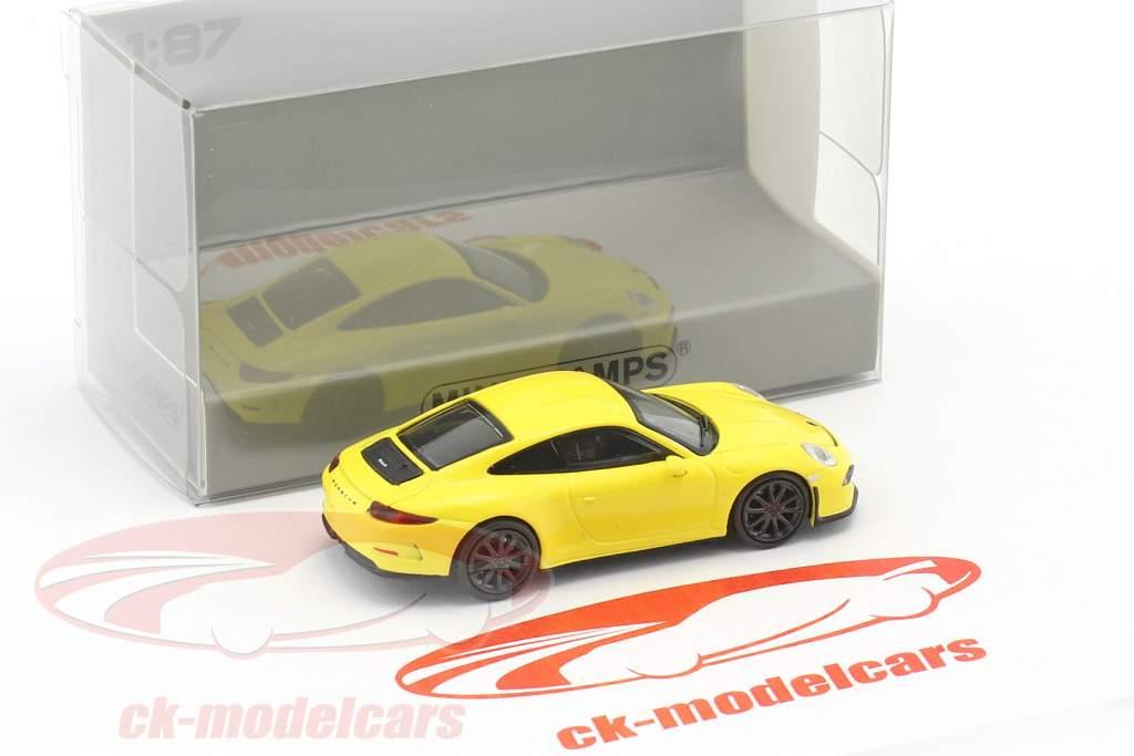 Porsche 911 (991) R anno di costruzione 2016 giallo con nero ruote 1:87 Minichamps